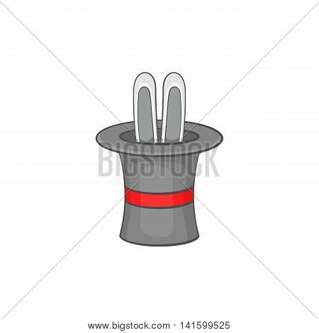 Rabbit ears appearing from a top magic hat icon in cartoon style on a white background