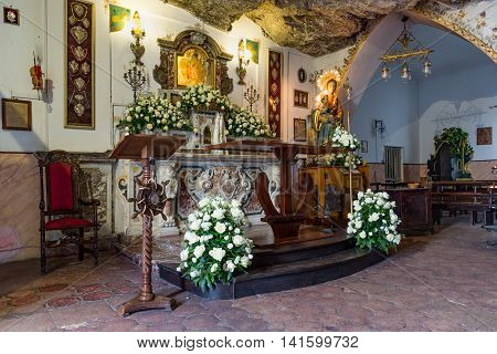 TAORMINA ITALY - MAY 19: Chapel Madonna della Rocca at a mountain on May 18 2016 near Taormina at the island Sicily Italy