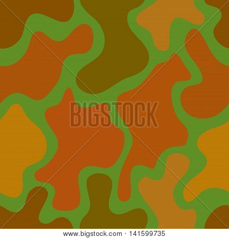 abstract vector chaotic spotted seamless pattern - green orange and brown