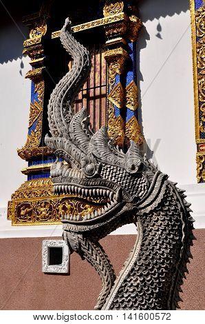 Chiang Mai Thailand - January 4 2013: A giant stone Naga dragon with bared teeth next to the Ubosot sanctuary hall at Wat Hua Kuang