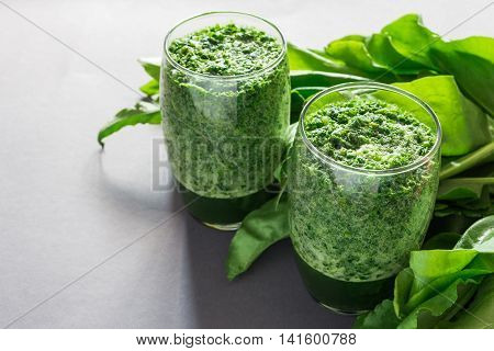 Healthy Green Sorrel And Spinach Smoothie In Glass Jar