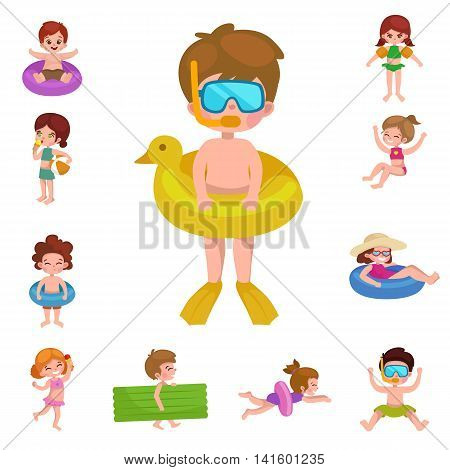 Summer vacation. Cute little girl in a bathing suit sunning on the beach under an umbrella. Swim in the sea. Funny boy in mask, flippers, swimming cap, Lifebuoy. Building a sand castle. Hawaiian dance