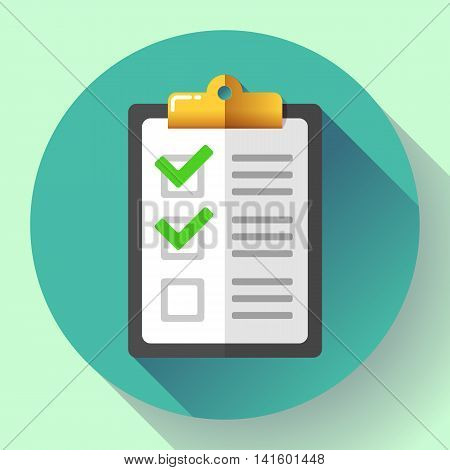 vector clipboard with green checklist icon flat.
