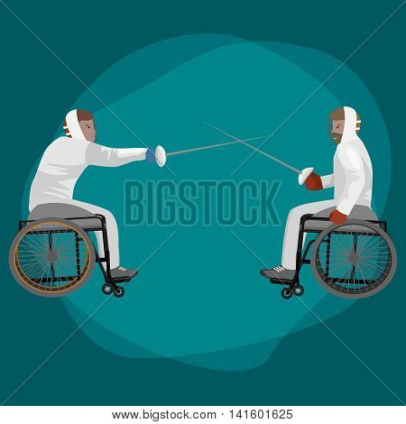 Physically disabled athletes fencing in a wheelchair. Handicapped sportsmen with rapiers. Vector flat illustration on isolated background.