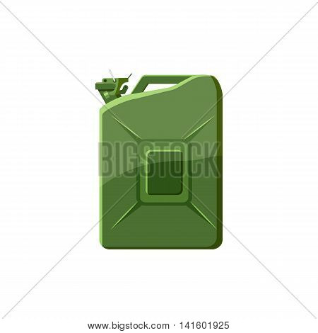 Green jerrycan icon in cartoon style on a white background