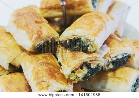 Turkish recipe Borek filo pastry with cheese and spinach filling