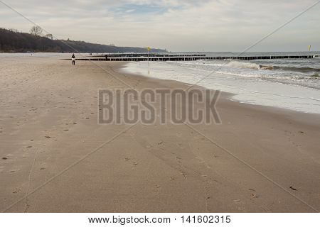 View on Sandy Baltic beach - Kolobrzeg Poland.