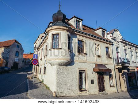Mikulov Czech Republic - May 17 2015. Old buildings in small Mikulov city in South Moravian Region