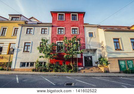 Mikulov Czech Republic - May 17 2015. Tenement houses in small Mikulov city in South Moravian Region