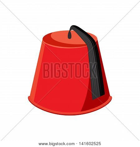 Turkish hat, fez icon in cartoon style on a white background