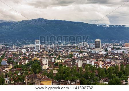 Aerial View Of Urban Sprawl In Sofia, Bulgaria