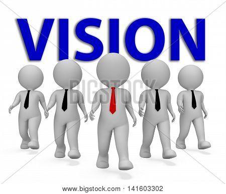 Vision Businessmen Means Objective Aspire 3D Rendering