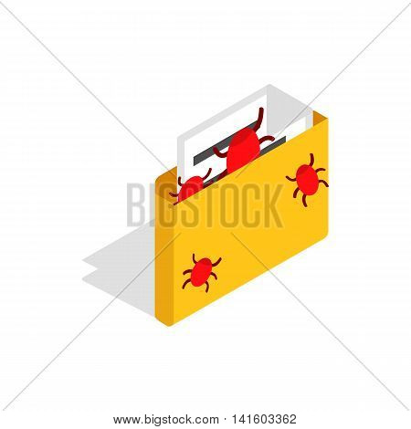 Infected email icon in isometric 3d style on a white background