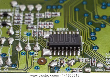 Close up of electronic circuit board with microchip