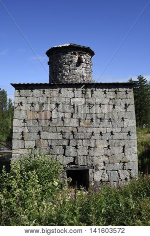 Old furnace made of stone picture from the North of Sweden.