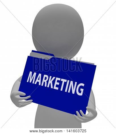 Marketing Folder Means Binder Promotions And Organization 3D Rendering