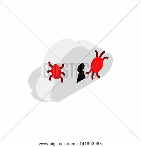 Cloud with keyhole and computer virus icon in isometric 3d style on a white background