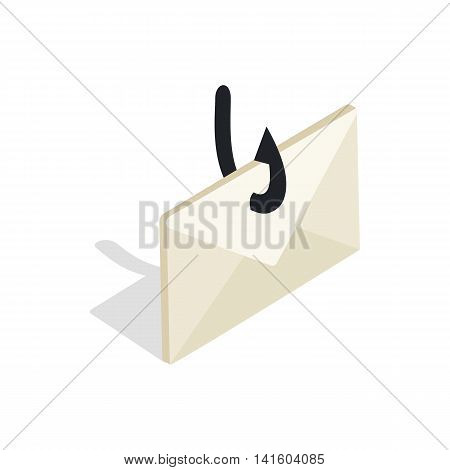 Internet fishing icon in isometric 3d style on a white background