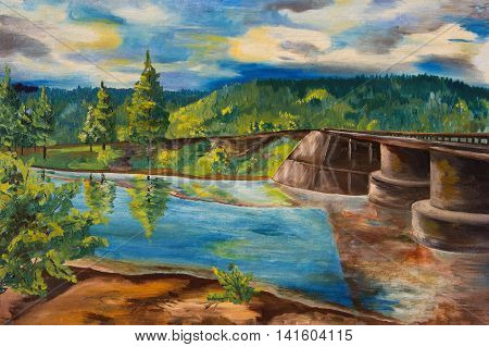 Oil painting. Landscape with forest river and bridge