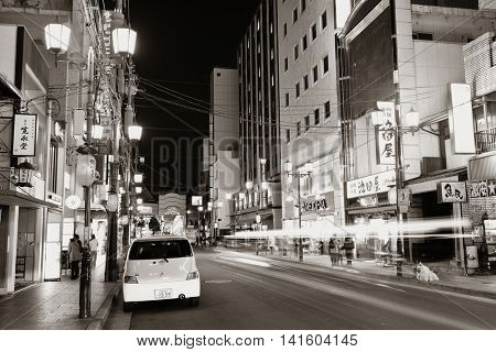 KYOTO, JAPAN - MAY 18: Street night view on May 18, 2013 in Kyoto. Former imperial capital of Japan for more than one thousand years, it has the name of City of Ten Thousand Shrines.