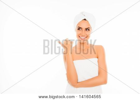 Happy Smiling Girl With Towel On Her Head Gesturing With Finger