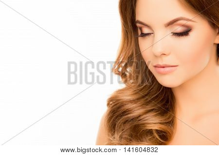 Close Up Portrait Of Beautiful Sensual Woman With Closed Eyes