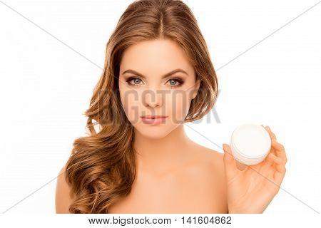 Young Attractive Girl Holding Jar Of  Cream For Face