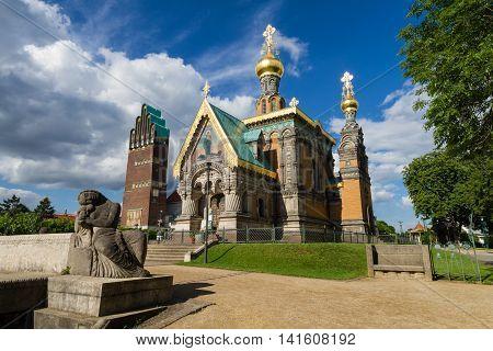 Mathildenhoehe Darmstadt Hochzeitsturm and Russina chapel Hessen Germany