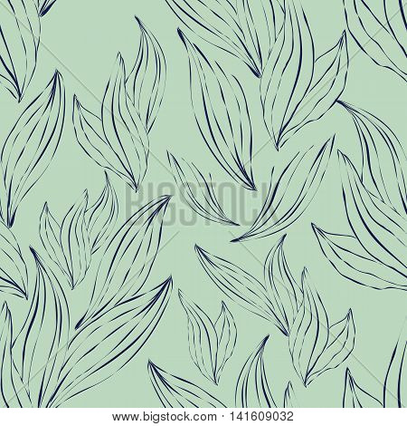 Seamless pattern of dark outline leaves on an green background. Seamless pattern can be used for pattern fills web page backgroundsurface textures.
