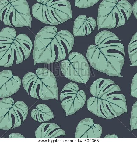 Monstera green leaves seamless pattern on a dark background. Seamless pattern can be used for pattern fills web page backgroundsurface textures.