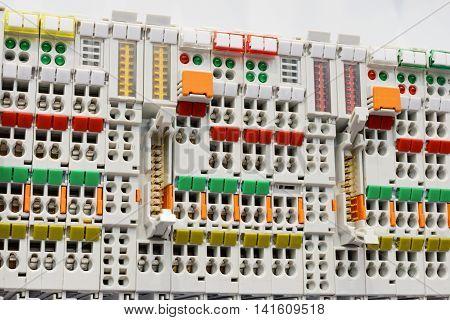 Close Up Wiring Connectors, Terminal Blocks.
