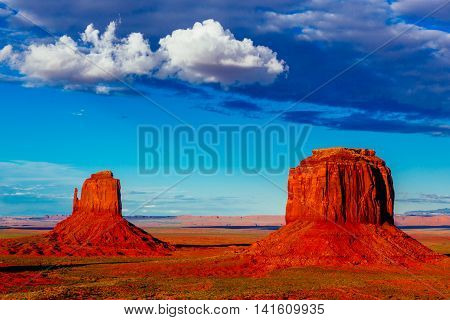 Buttes At Sunset, The Mittens, Merrick Butte, Monument Valley, Arizona