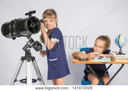 The Girl Was Upset He Did Not See In The Telescope, The Other Girl Mocking Her