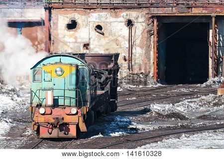 The Locomotive Carries A Bowl Of Molten Metal.