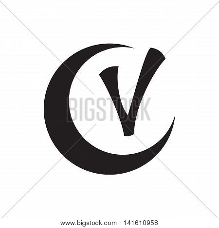 Checkmark and crescent icon in simple style isolated on white background. Click and choice symbol