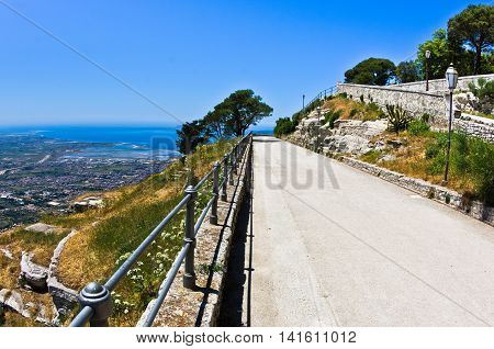 Promenade and viewpoint at famous Egadi islands, Erice, Sicily, Italy