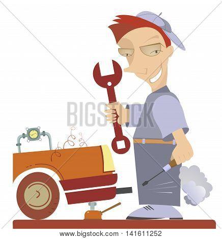 Mechanic Illustration. Cartoon comic mechanic repairs a car