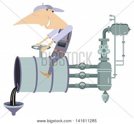 Oil industry illustration. Worker turns off the valve and pours oil, fuel, benzine, diesel or gasoline from the barrel
