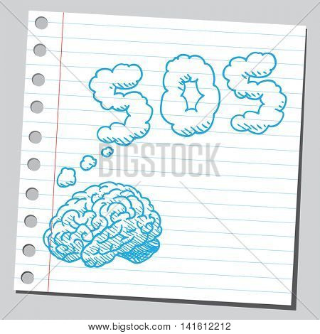 Brain thinking about SOS sign