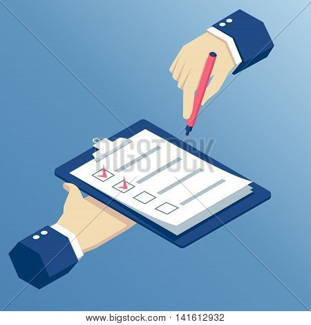 Flat 3d isometric hands holding clipboard with checklist and marker business isometric illustration