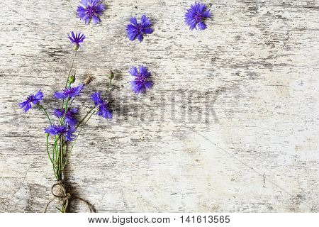bouquet of blue flowers of cornflowers with copy space rustic bouquet picked in summer on white wooden background