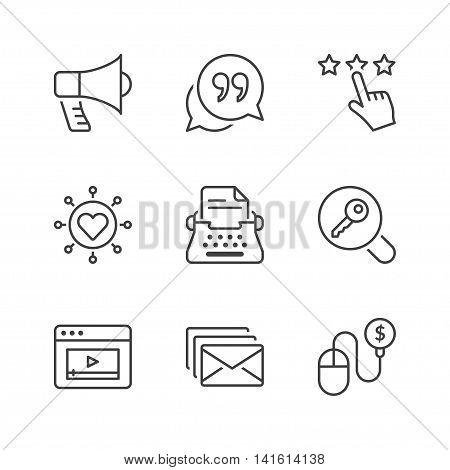 marketing icons set thin line black color