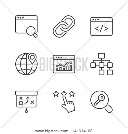 search engine optimization icons set thin line black color