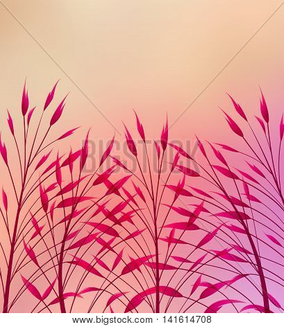 Vector illustration grass on a colored background, abstract meadow element.