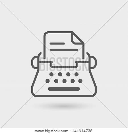 typewriter icon isolated. gray color with shadow