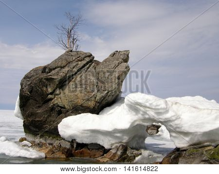 Natural monument - a rock Turtle on the lake Baikal.