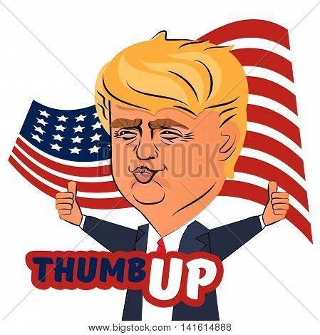 August 4 2016: Character portrait of Donald Trump thumb up giving a speech with american flag. Positive caricature politician who is running for President.