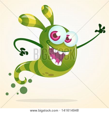 Cute cartoon green ghost waving. Vector Halloween character