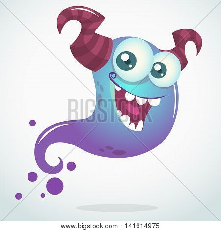 Happy cartoon blue ghost with two horns and big eyes. Vector Halloween character