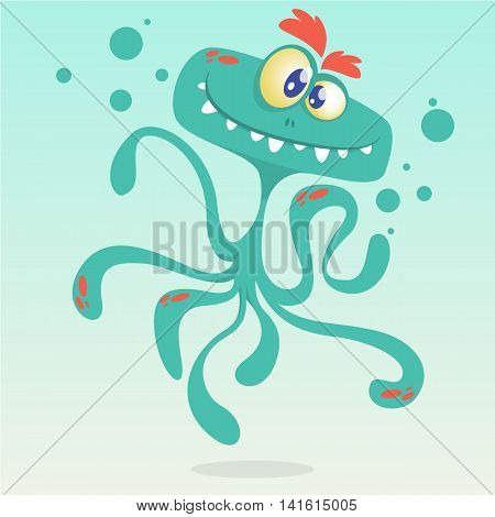 Happy cartoon octopus. Vector Halloween blue octopus character isolated